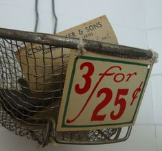 Knick of Time - grocery store price tags to print Vintage Country, Vintage Farmhouse, Vintage Decor, Farmhouse Decor, Grocery Ads, Grocery Store, Dandy, Craft Markets, Wire Baskets