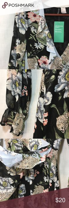 3afde5e5f591a8 H&M Divided Conscious Leopard Floral Wrap Dress 4 Recycled Material Leopard  Floral NWT 55% of