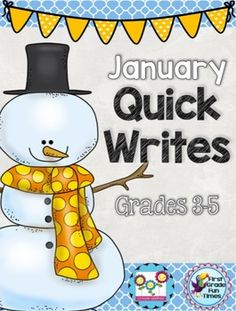 Winter Writing: Quick Writes  After many requests, First Grade Fun Times and I have joined together to create quick writes for grades 3-5!   We use these as weekly quick writes for morning work. After we spend some time working on answering in complete sentences, students are able to write one or two sentences to quickly respond to the prompts.