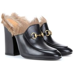 Gucci Princetown Fur-Trimmed Leather Mules ($1,100) ❤ liked on Polyvore featuring shoes, gucci, black, high shoes, black leather shoes, black mules, kohl shoes, leather mule shoes and genuine leather shoes
