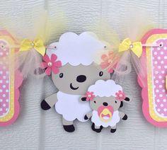 Mom and baby lamb, lamb baby shower banner, it's a girl banner, pink and yellow, polka dots, etsy