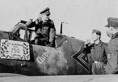 Celebration. German ace Gerhard Barkhom got his 250th kill on February 1944.