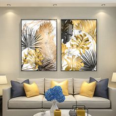Nordic plants Golden leaf canvas painting posters and print wall art pictures for living room bedroom dinning room modern decor - AliExpress Gold Leaf Art, Leaf Wall Art, Wall Art Decor, Living Room Pictures, Wall Art Pictures, Wall Art Prints, Canvas Prints, Canvas Paintings, Landscape Paintings