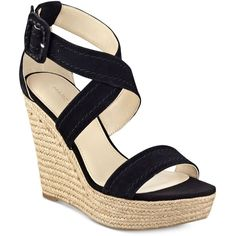 Marc Fisher Haely Platform Wedge Sandals ($70) ❤ liked on Polyvore featuring shoes, sandals, black suede, suede shoes, black sandals, kohl shoes, marc fisher footwear and black suede shoes