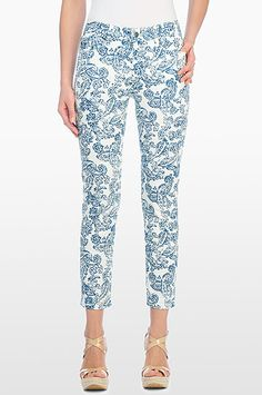 NYDJ - Not Your Daughter's Jeans Official Store, ALISHA FITTED ANKLE IN PAISLEY ROTARY PRINT FINE LINE TWILL, seaport blue, Non-Denim > Skinny > Ankle, 30610HSP110