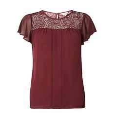 Dorothy Perkins Billie and blossom mulberry lace insert top | Debenhams