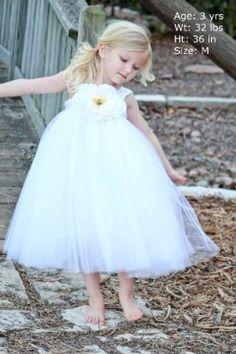 Flower Girl Dress White Tutu Dress For Wedding And Little Girl Birthday Party Dress