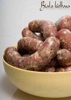 Biała kiełbasa Salami Recipes, Homemade Sausage Recipes, Pork Recipes, Cooking Recipes, Chorizo, Home Made Sausage, Kielbasa Sausage, Good Food, Yummy Food