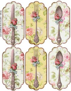 me encantan estas etiquetas de cubiertos vintage   Enlace:   https://blackwidow12.wordpress.com/2014/12/17/paper-crafts-vintage-pieces-for-c...