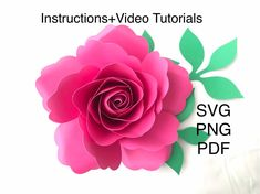 This small paper rose template SVG PNG Printable PDF is a unique design from my shop. Make it easy with my video tutorials. Flower Petal Template, Flower Svg, Flower Petals, Flower Clipart, Large Paper Flowers, Giant Paper Flowers, Paper Roses, Rose Tutorial, Paper Flower Tutorial