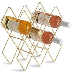 VonShef 8 Wine Bottle Wine Rack, Freestanding Holder, Shelves, Countertop Storage – Metal Brushed Gold and Geometric Design for Red and White Wine - Kitchen Appliances Lists Products Bottle Wall, Wine Bottle Holders, Glass Holders, Wine Bottles, Wine Decanter, Drink Holder, Hanging Wine Glass Rack, Wine Collection, Italian Wine