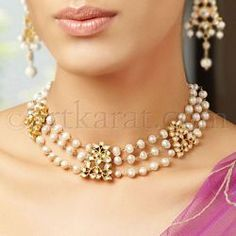 Akal Necklace by Art Karat - white sapphires, freshwater pearls, and gold. Part of their Maharaja collection. Pearl Choker Necklace, Pearl Jewelry, Wedding Jewelry, Beaded Jewelry, Jewelry Necklaces, Pearl Necklaces, Pearl Bracelet, Gold Jewelry, Prom Jewelry