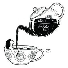 """""""There is something in the nature of tea that leads us into a world of quiet contemplation of life."""" ~ Lin Yutang""""There is something in the nature of tea that leads us into a world of quiet contemplation of life. Illustrator Design, Art Sketches, Art Drawings, Sketch 4, Tee Kunst, Tea Illustration, Ink Illustrations, Buch Design, Design Art"""