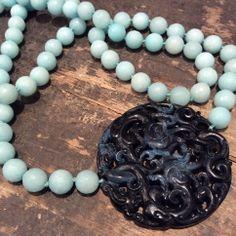 Collar Aguamarina y Jade azul