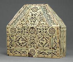 Italian bursa reliquary. Bone, copper-gilt, wood. MMA (Cloisters). 10th c. The Met.