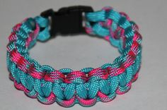 Neon Turquoise and Pink turquoise camo Parcord by bahabracelets, $5.99