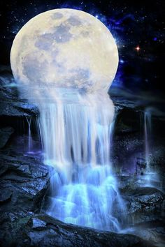 Melted Moon Digital Art by Lilia DYou can find Moon art and more on our website.Melted Moon Digital Art by Lilia D Night Sky Wallpaper, Wallpaper Space, Scenery Wallpaper, Sunset Wallpaper, Screen Wallpaper, Moon Painting, Galaxy Painting, Galaxy Art, Planets Wallpaper