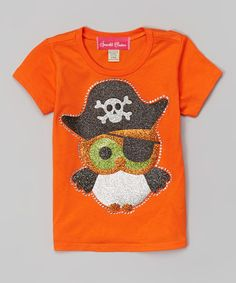 Orange Sparkle Pirate Owl Tee - Infant, Toddler & Girls #zulily #zulilyfinds