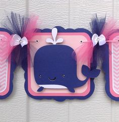 Whale banner, whale baby shower banner, pink, navy blue, pink chevron, etsy, handmade banner, nancysbannerboutique, it's a girl banner