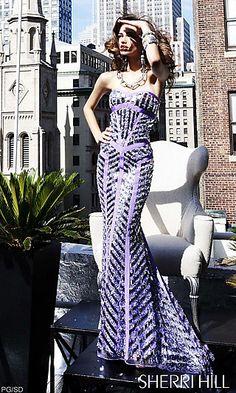 Long Strapless Sweetheart Embellished Sherri Hill Dress