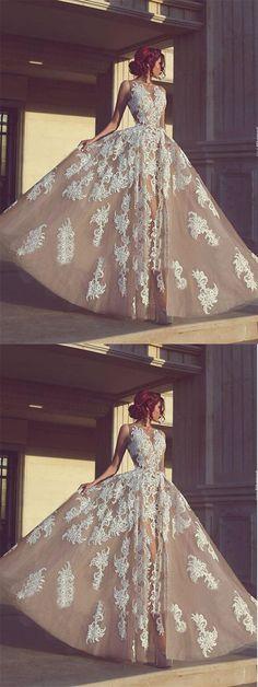A-line Long Appliques Wedding Dress,Charming Sleeveless Prom Dress #charming #appliques #aline #long #prom #wedding #dress #gown #okdresses