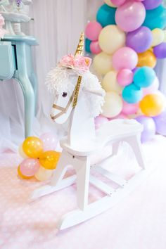 Rocking unicorn from a Magical Unicorn Birthday Party on Kara's Party Ideas | KarasPartyIdeas.com (23)