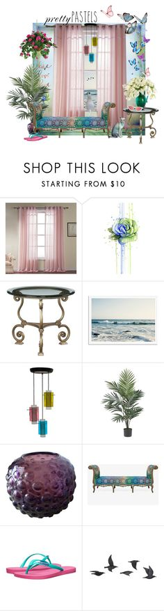 """""""Pretty Pastels by the Sea"""" by grandylady ❤ liked on Polyvore featuring interior, interiors, interior design, home, home decor, interior decorating, Stilnovo, Nearly Natural, Matthew Williamson and Havaianas"""