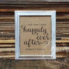 And They Lived Happily Ever After  Burlap Art by BellaGreyVintage