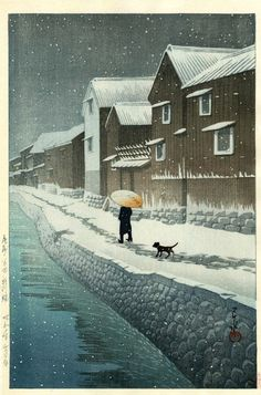 Shinkawa Riverside, by Kawase Hasui, 1935 (March)