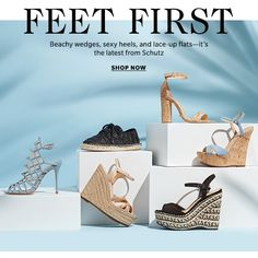 Feet First - Beachy wedges, sexy heels, and lace-up flats—it's the latest from Shutz. Shop now > shopbop Web Design, Email Design, Shoes Editorial, Shoe Poster, Shoe Advertising, Creative Shoes, Custom Website Design, Campaign Fashion, Shoes Photo