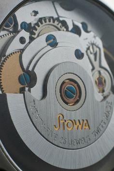 A macro of the ETA 2824 automatic mechanical watch movement in the Stowa Antea