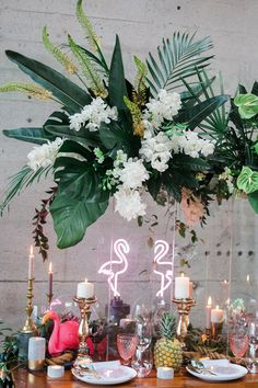 - Stylish tropical wedding inspiration in the pacific northwest - photo by Katt Willson Wedding Themes, Wedding Colors, Wedding Flowers, Wedding Photos, Wedding Decorations, Table Decorations, Centerpieces, Wedding Events, Tropical Home Decor