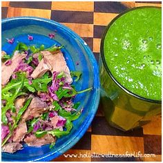 Lunch of salad and green smoothie. #Paleo #clean #fresh #green #greenliving #healthy #jerf #holistic #healthyfoodshare #healthyfoodie #healthspo #fitspo #foodphotography #cleaneat #cleanliving #smoothie #natural