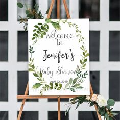 Greenery welcome sign baby shower watercolor leaves wreath watercolor printable welcome sign bridal shower shower decoration Welcome Baby Showers, Bridal Shower Welcome Sign, Bridal Shower Signs, Baby Shower Signs, Bridal Shower Favors, Bridal Shower Invitations, Beach Bridal Showers, Elegant Bridal Shower, Bridal Shower Centerpieces