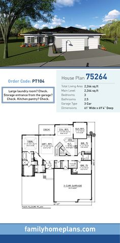Modern House Plan 75264 | Total Living Area: 2,264 SQ FT, 3 bedrooms and 2.5 bathrooms. Large laundry room? Check. Storage entrance from the garage? Check. Kitchen pantry? Check. #modernhome