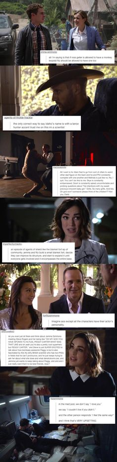 Agents of S.H.I.E.L.D. + Tumblr :)  I agree 100% with the one about Jemma and Steve