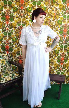 Vintage 1970's White Lace Lingeria Nightgown by unforgivenvintage, $22.00