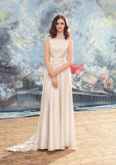 Sexy Column Embroidered Bodice Bare Waist Chiffon Sweep Train Beach Destination Wedding Dresses