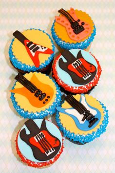 Cupcake, and Cookie Toppers - 1 Dozen via Etsy Fondant Cookies, Fondant Toppers, Cupcake Toppers, Cupcake Cakes, Guitar Cupcakes, Guitar Cake, Guy Cupcakes, Guitar Party, Themed Cupcakes