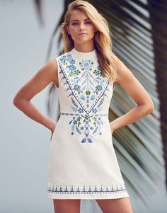 Fashion Union Sleeveless Embroidered Dress