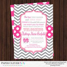 Girls baby shower invitations -sip and see invites in hot pink and gray - printable (1527)! Feel free to customize the meet and greet baby
