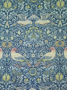 William Morris, Bird, 1878 From the Metropolitan Museum of Art: This pattern was registered in Morris designed it for the walls of the drawing room of his family home, Kelmscott House, in the Hammersmith area of London. William Morris, Tapestry Design, Textile Design, Textile Art, Fabric Design, Craftsman Wallpaper, Edward Burne Jones, Fabric Birds, Textiles