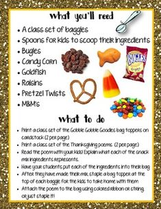THANKSGIVING SNACK MIX {GOBBLE GOBBLE GOODIES} {FUN POEM} AND {BAG TOPPERS} - TeachersPayTeachers.com