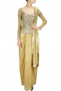 Gold concept sari with embellished corset blouse and dupatta