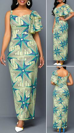 Geometric Print One Sleeve Maxi Dress – Christmas Fashion Trends Latest African Fashion Dresses, African Dresses For Women, African Print Dresses, African Print Fashion, African Attire, Outfits Dress, Fashion Outfits, Moda Afro, African Traditional Dresses