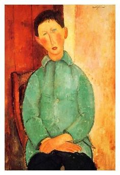 Art Print: Boy in a blue shirt by Amedeo Modigliani : 19x13in