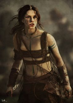 Pictish warrior-woman. Leather chest armour should protect ALL the breast area, or it's useless!