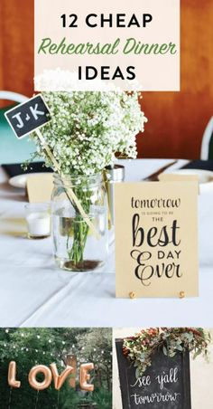 12 Cheap Rehearsal Dinner Ideas: planning a wedding sometimes means you want to everything but you can't... why not add some flair to your rehearsal dinner instead?