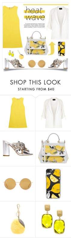 """""""How to Dress for a Heat Wave"""" by alinepinkskirt ❤ liked on Polyvore featuring Alice + Olivia, River Island, GEDEBE, Dolce&Gabbana, Acne Studios, Casetify and Effy Jewelry"""