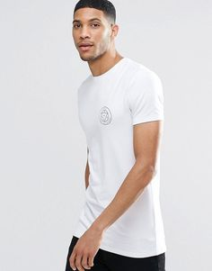 ASOS Longline Muscle T-Shirt With Chest Print - White